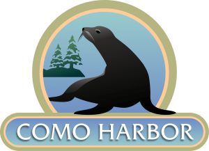 Como Harbor Logo with sea lion in the middle