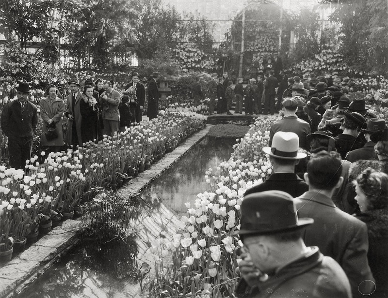 people in sunken garden in early 1900s